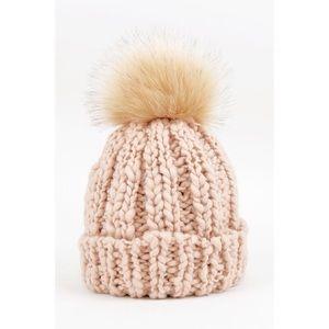 Chunky Knit Pom Hat-PEACH